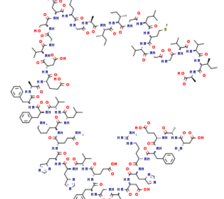 Structure of Beta AmyloidPeptide1 42CAS 107761 42 2 449x400 - Fmoc-L-threoninol p-carboxybenzacetal CAS 205109-16-6