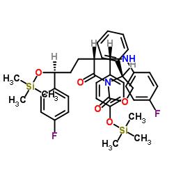 3-[(2R,5S)-5-(4-Fluorophenyl)-2-[(S)-[(4-fluorophenyl(amino)]][4-[trimethylsilyl]-oxy]phenyl]methyl]-1-oxo-5-[(trimethylsily)-oxy]pentyl]-4-phenyl-(4S)-2-oxazolidinone CAS 272778-12-8
