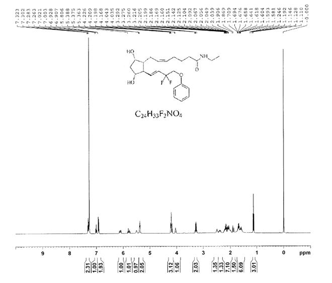 DECHLORO DIHYDROXYDIFLUORO ETHYLCLOPROSTENOLAMIDE CAS 1185851-52-8 HNMR